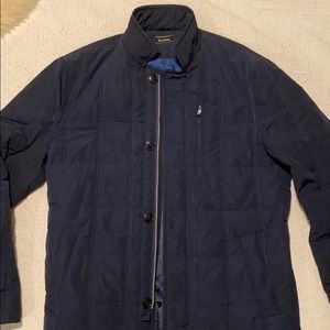 Neiman Marcus Fitted Quilted Navy Jacket